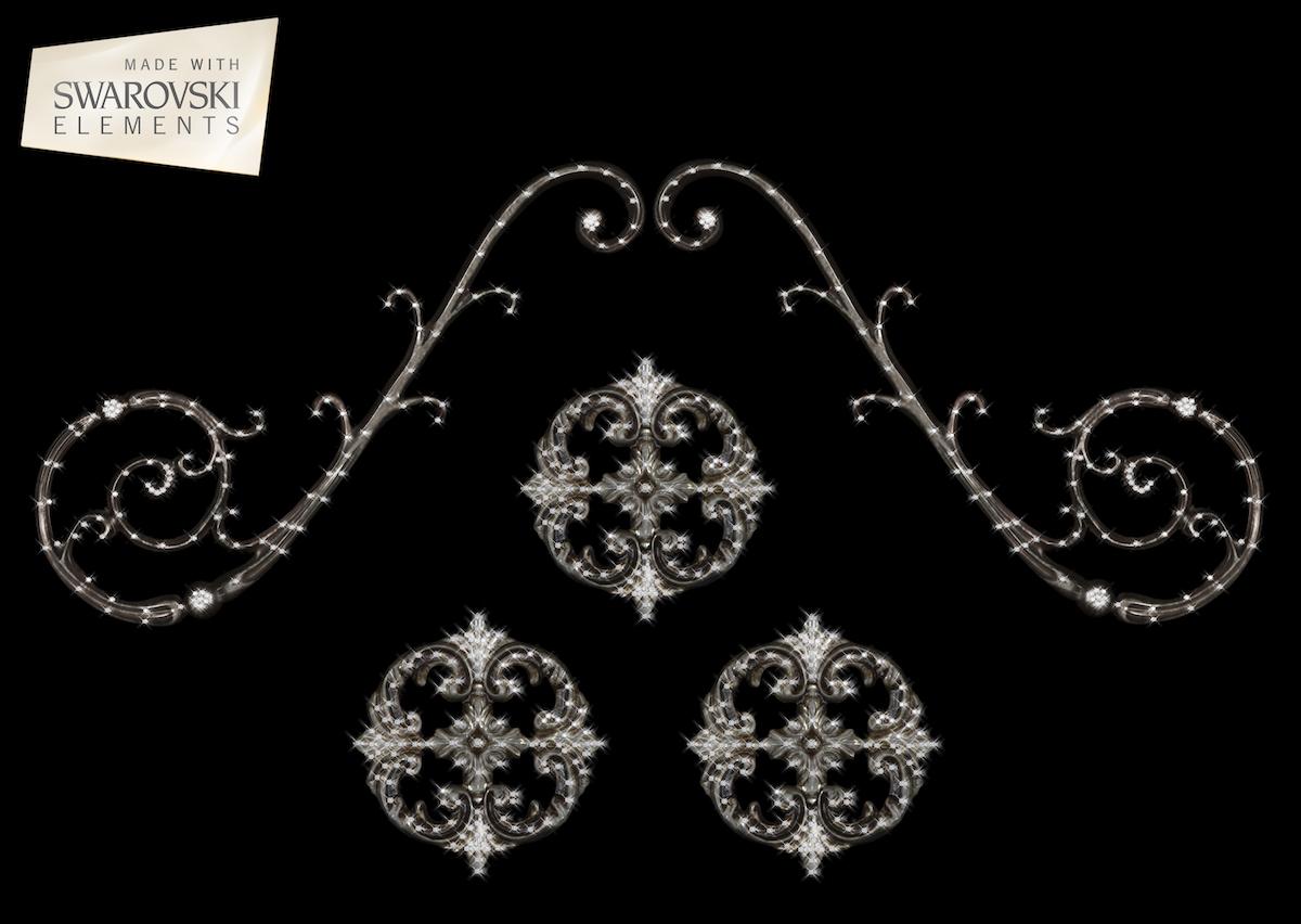 "Florence Scroll-5PC Crystal ""Corner"""