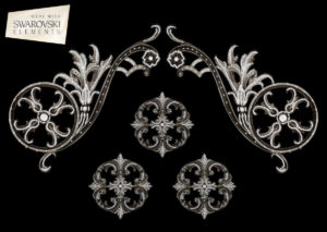 "Estella Scroll-5PC Crystal ""Corner"""