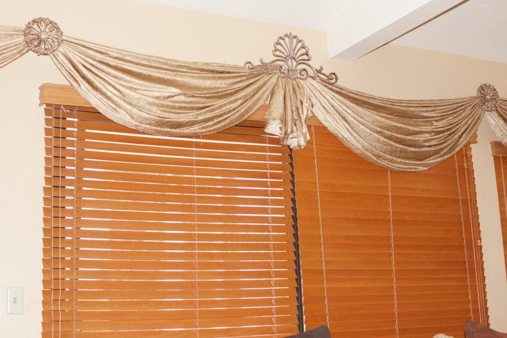 custom drapery and blinds, custom swag, custom curtains blinds