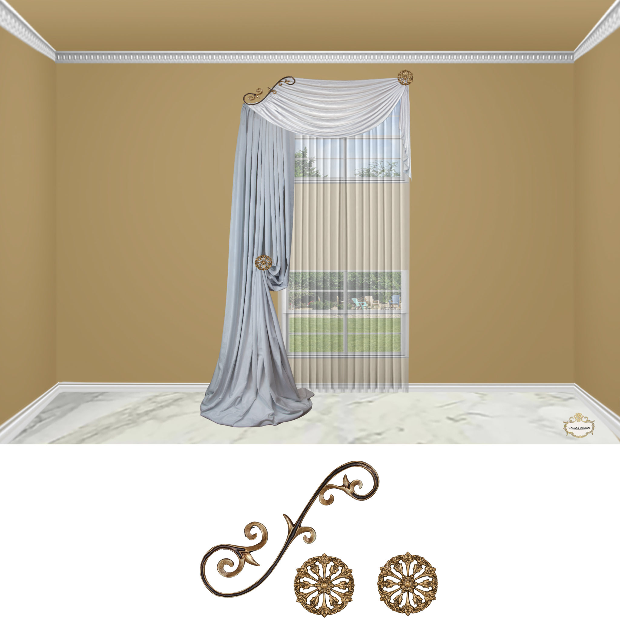 Large Venetian Scroll-3PC Classic