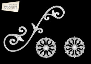 Large Venetian Scroll-3PC Crystal