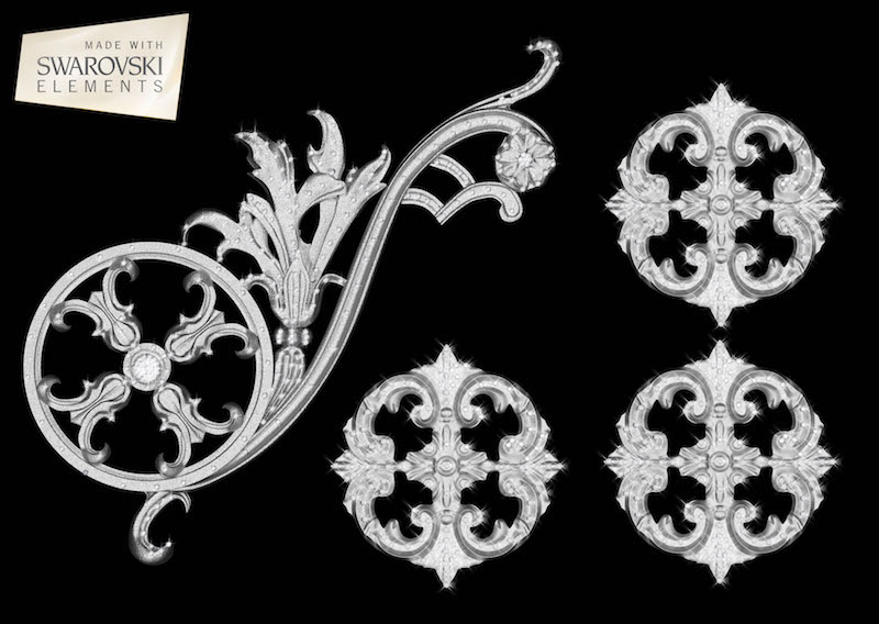 "Estella Scroll-4PC Crystal ""Corner"""