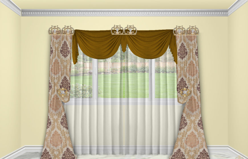 Bellagio crown-5- Radiant Gold -Sherman Linen Tara Dark gold - Sheers Batist Champagne