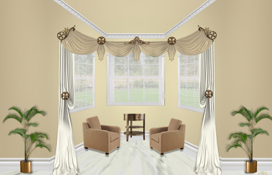 Estella scroll corner-5- Antique gold- Plaza Ivory- Tara Beige- Sheers batist champagne