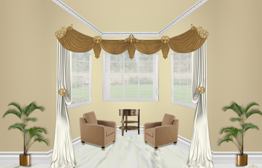 Estella scroll corner-5- Radiant gold- Plaza Ivory- Tara light gold- Sheers batist champagne
